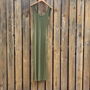 bebe olive green sexy side slit maxi